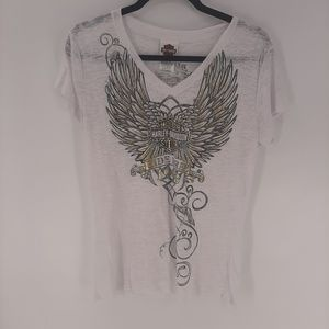 Harley Davidson gold eagle wings tee XL